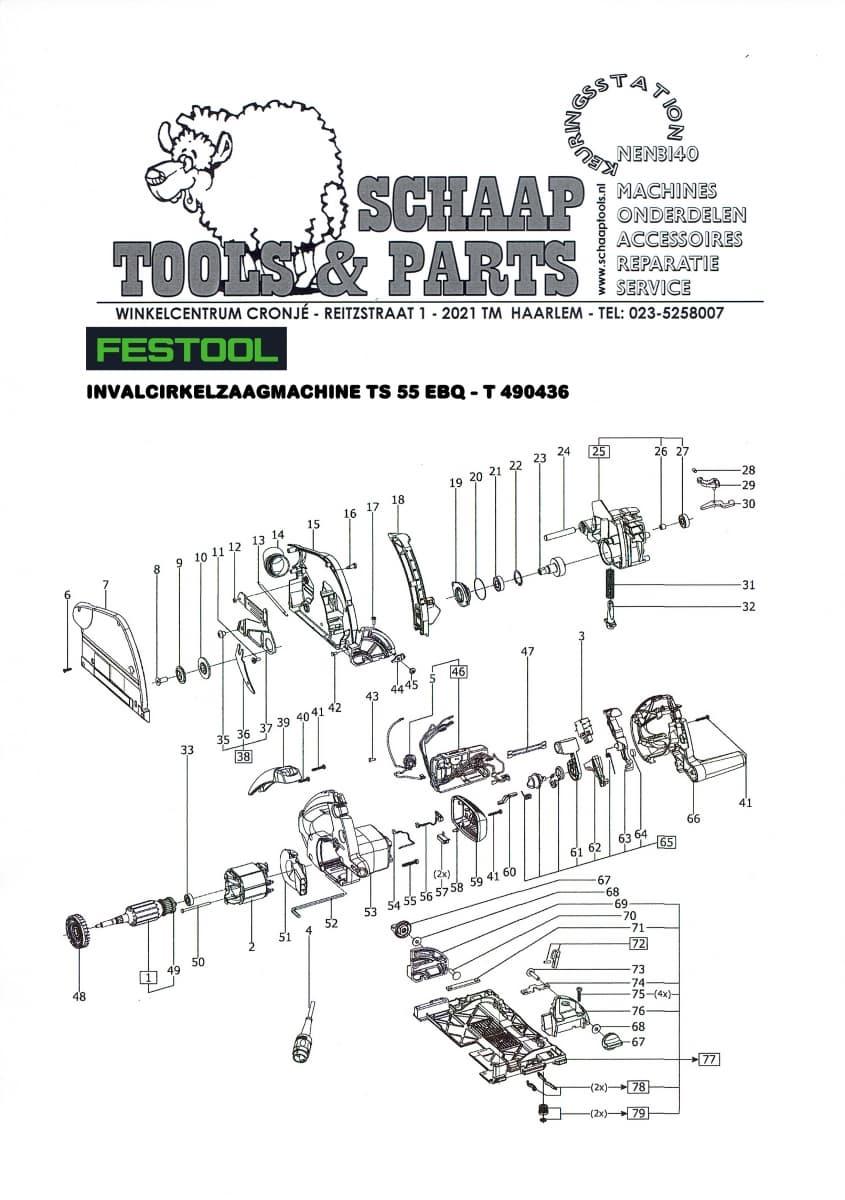 festool invalcirkelzaagmachine ts 55 ebq - t 490436   schaap tools